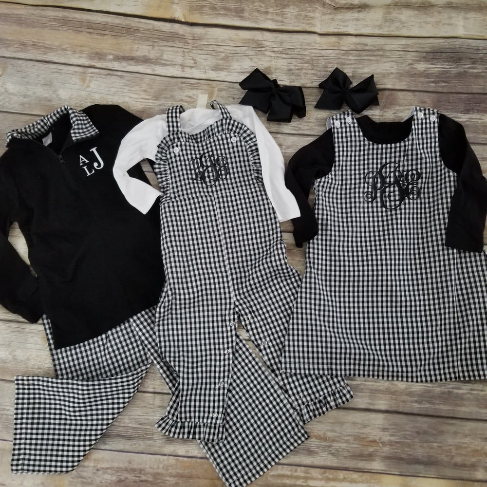 Black Gingham Quarter Zip Pullover