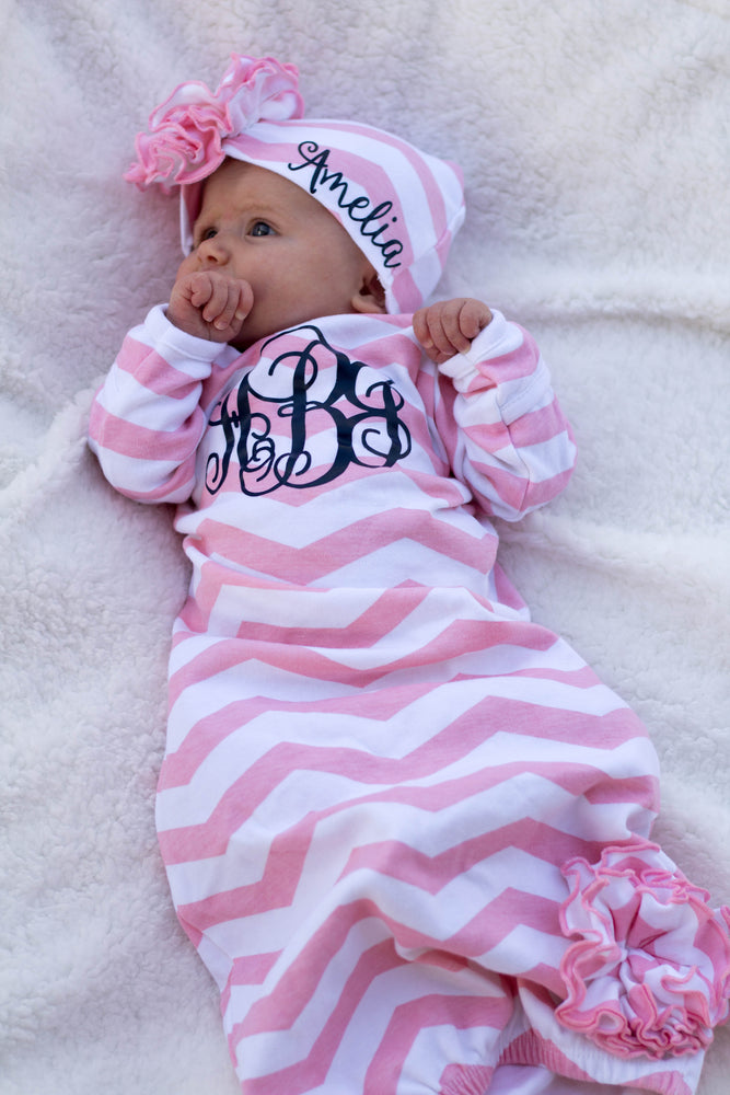 "alt=""baby girl pink chevron gown"""