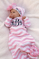 Baby Girl Pink Chevron Gown