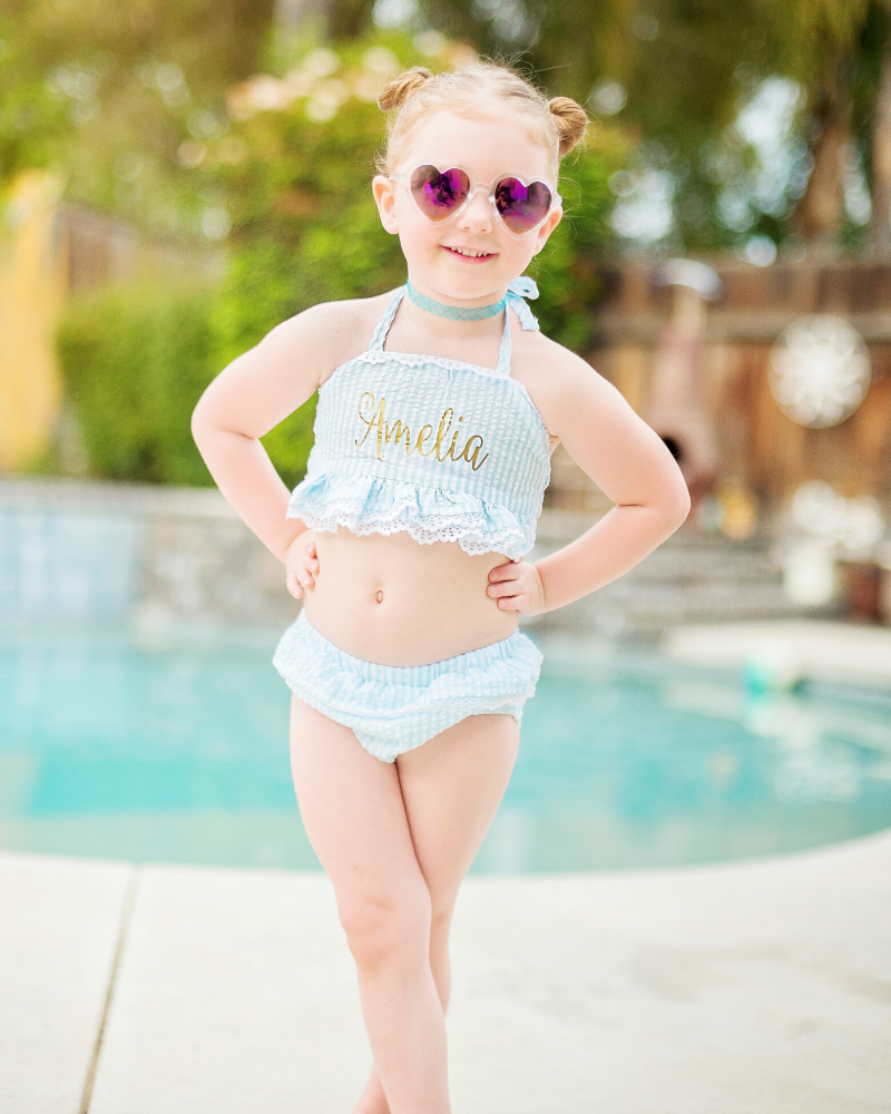 Aqua and Gold Personalized Two Piece Swimsuit