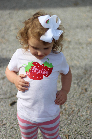 Girls Personalized Strawberry Shirt