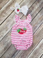 Strawberry Birthday Romper Outfit
