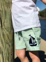 Monogrammed Seersucker Swim Trunks