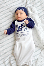 Personalized Hello World Raglan Gown Set