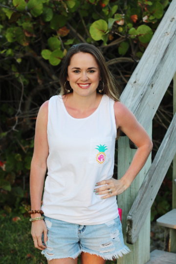 Pineapple Monogram Comfort Colors Tank