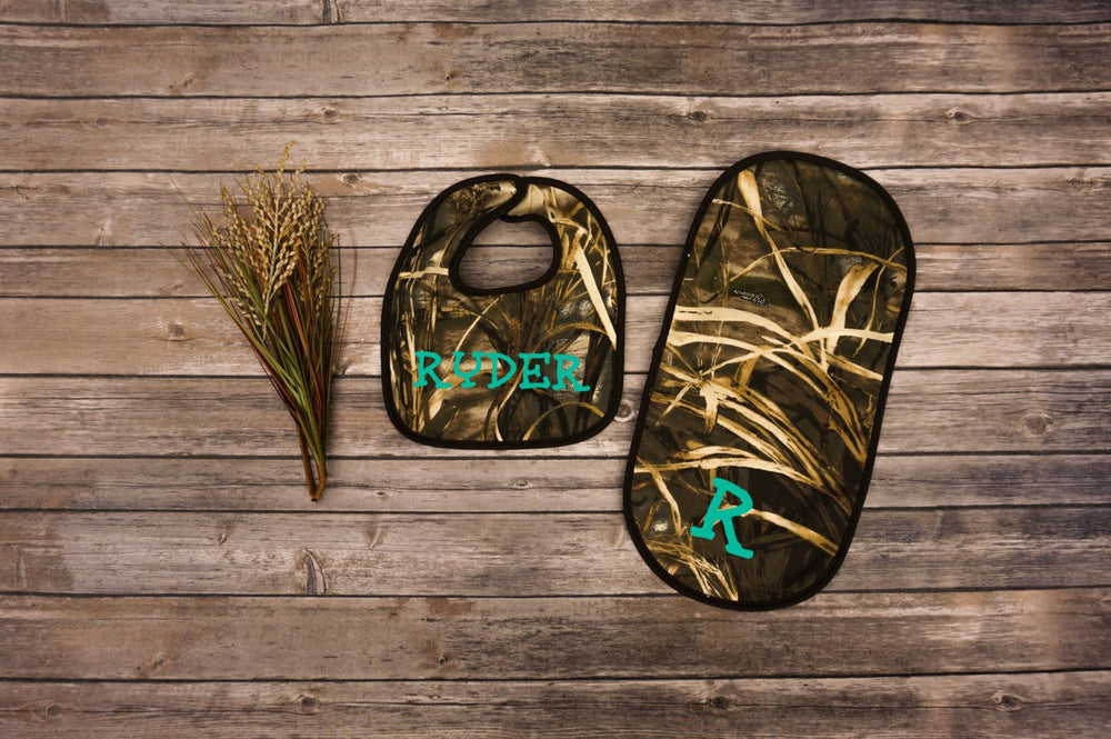 Camo Baby Bib and Burp Cloth