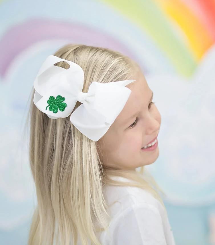 St Patricks Day Big Bow Headband or Clip