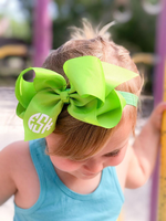 "6"" Big Bow Monogram Headband or Clip Bow"