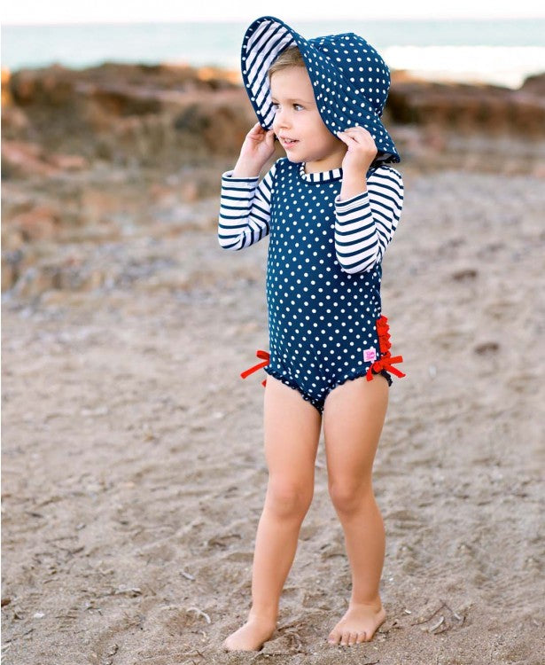 Liberty Collection Navy Polka Dot One Piece Rash Guard