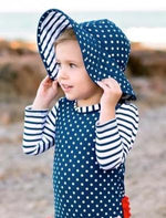Navy Dot & Stripe Reversible Swim Hat