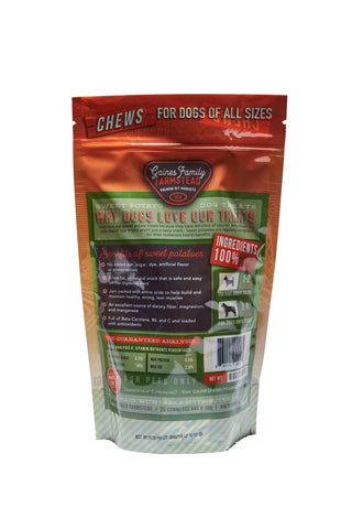 Sweet Potato Chews - 8 oz. bag - FREE SHIPPING - Gaines Family Farmstead