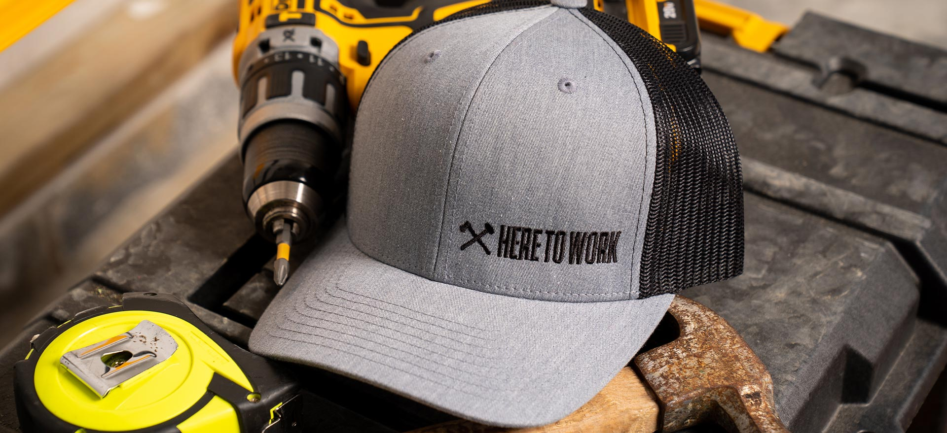 here to work snapback