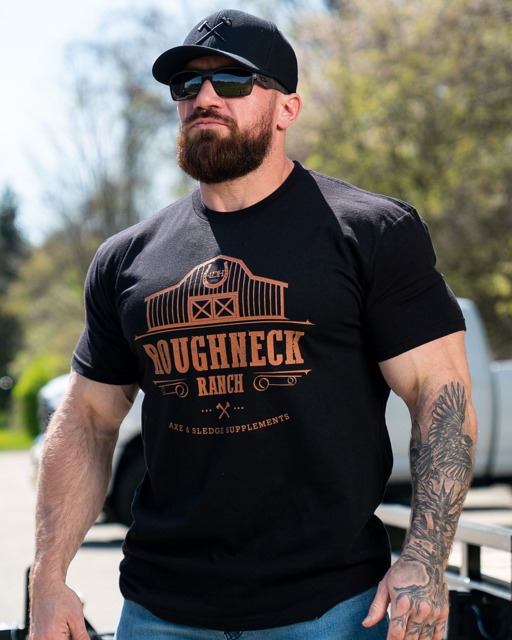 Burnt Orange on Black Roughneck Ranch Tee