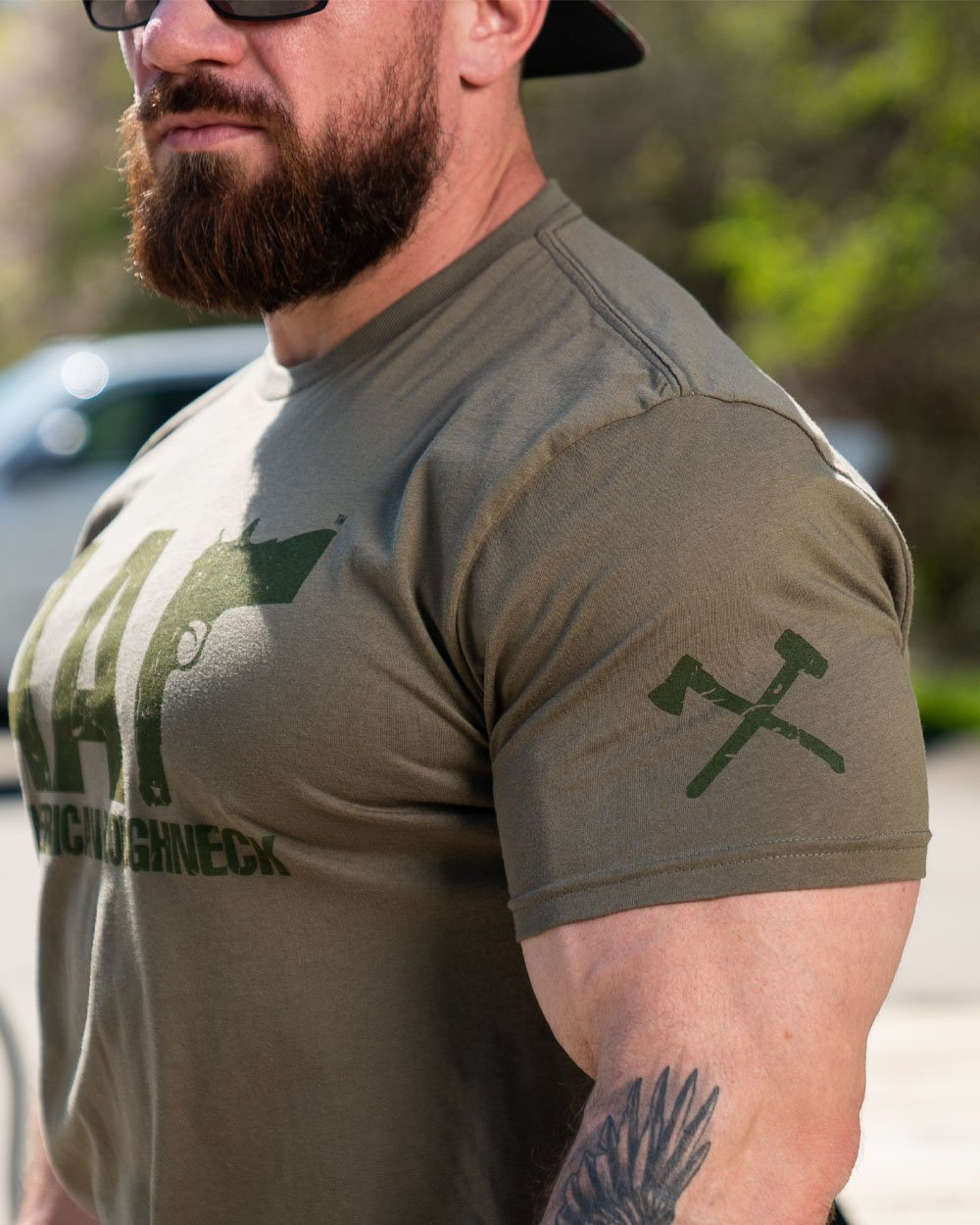 Green on Military AAr Logo Tee