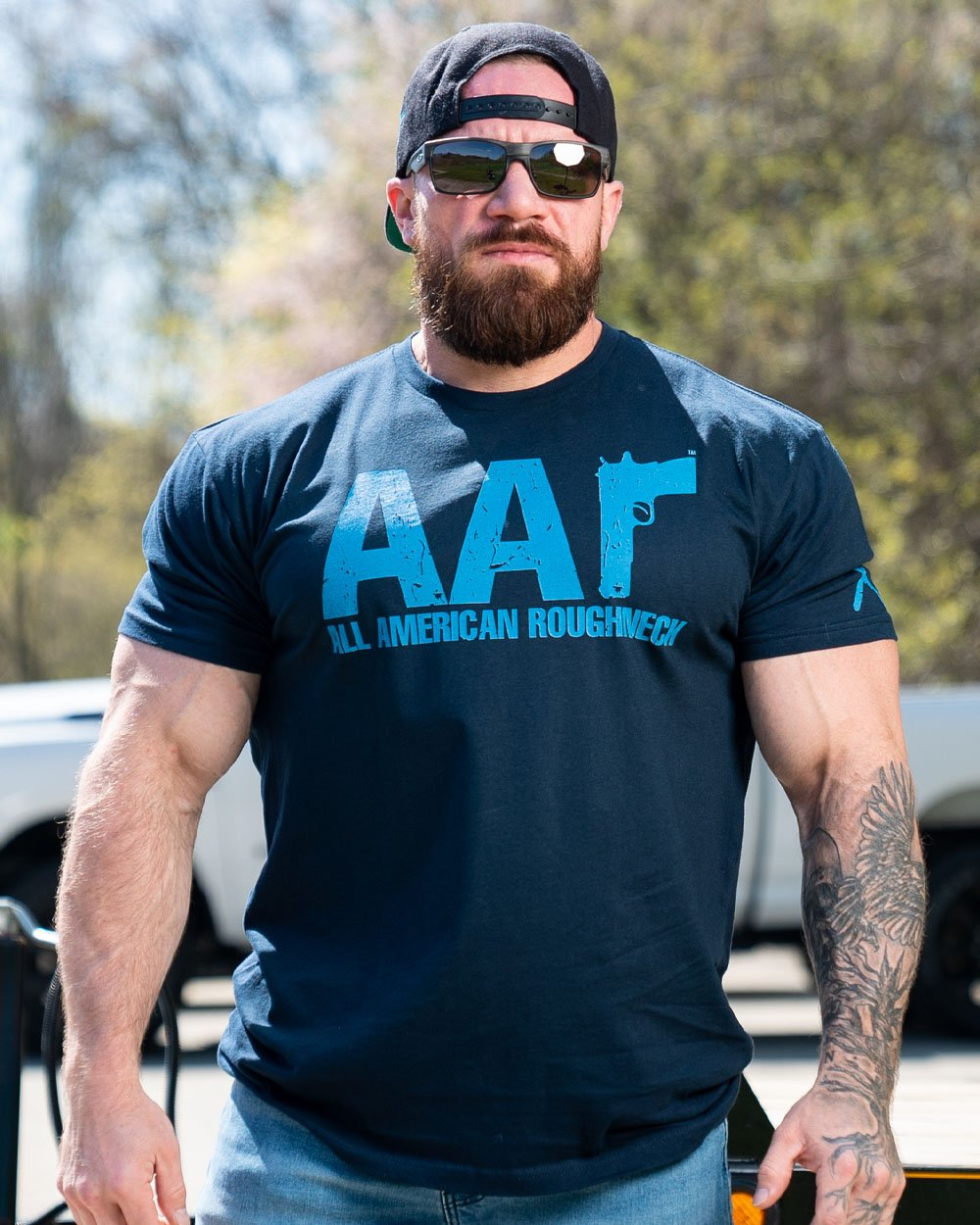Blue on Navy AAr Logo Tee