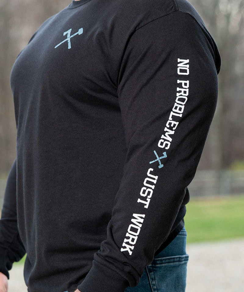 Simple Long Sleeve Slate Blue on Black