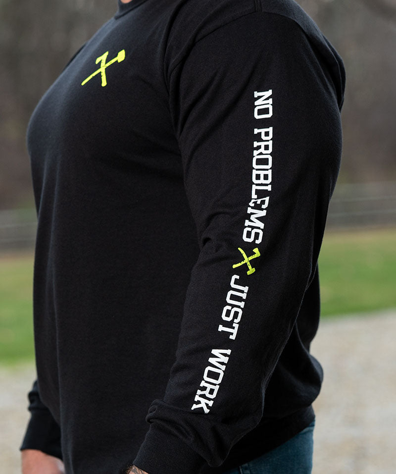 Simple Long Sleeve Neon Green on Black