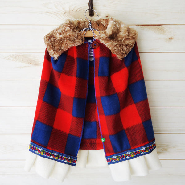 Big Sky Buffalo Check Girls Cape, Girls red buffalo check fleece cape, Scandinavian girls cape