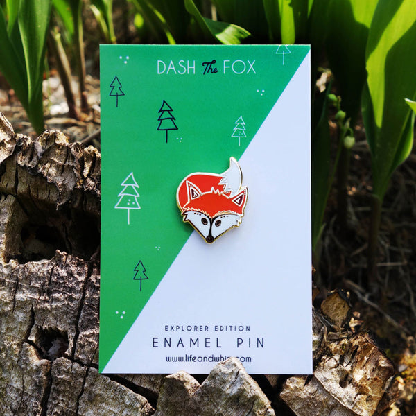 Dash the Fox, Enamel Pin, Life and Whim, Traverse City