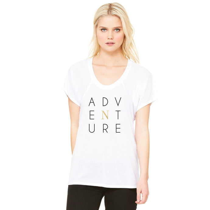 Woman's white t-shirt, adventure white tee shirt, north tee shirt back