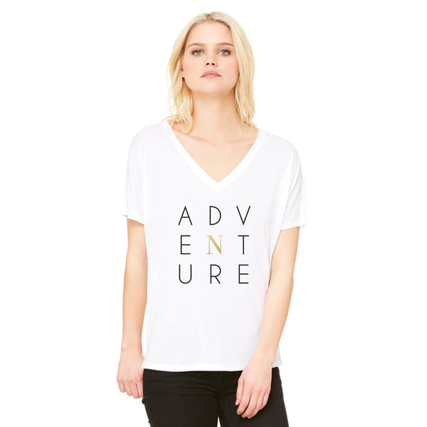 Woman's white V flowy t-shirt, adventure white tee shirt, north tee shirt front