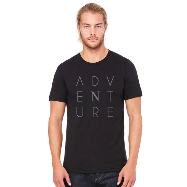 Mens black adventure tee shirt, North t-shirt front