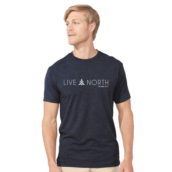 Mens Navy Live North tee shirt, Live North t-shirt front, Live North Traverse City tee mens