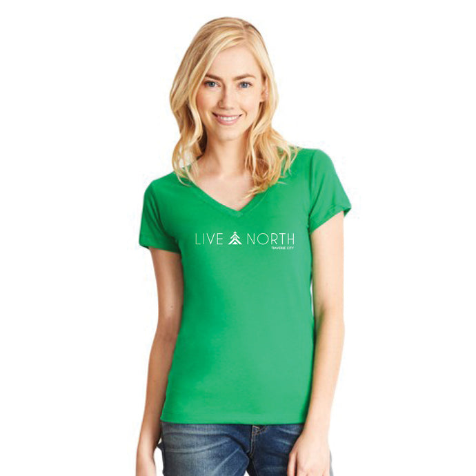 Live North Women's Tee Shirt Kelly Green, Live North Traverse City t-shirt green women's