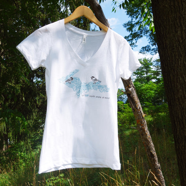 Upper Peninsula Treetop View White v-neck tee shirt by Brittany Zeller-Holland