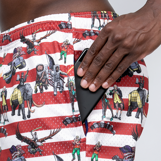 Load image into Gallery viewer, Mesh Zipper Shorts: Team America