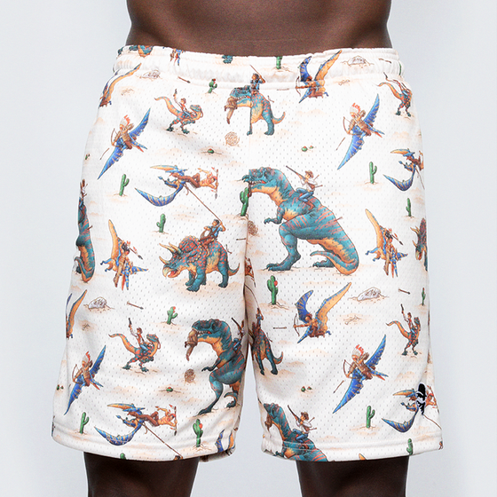 Load image into Gallery viewer, Mesh Zipper Shorts: Jurassic Western