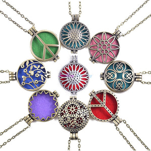 Aroma Diffuser Necklace Antique Lockets Essential Oil With Pads - CanadianGeeseWholesale