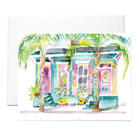 New Orleans Shotgun Houses Folded Notecards