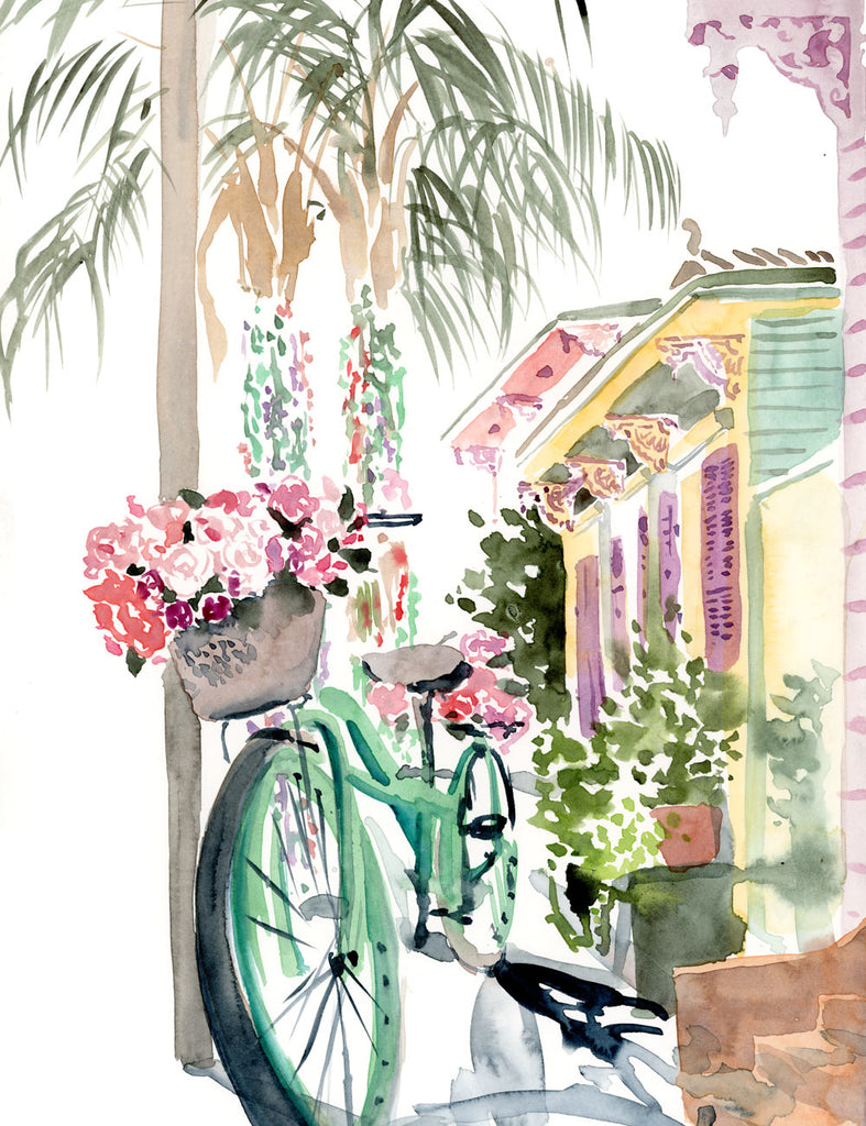 Blossoming Bicycle in the Marigny print