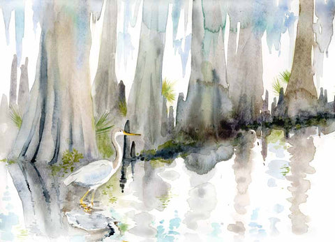 Blue Heron Hunting watercolor print