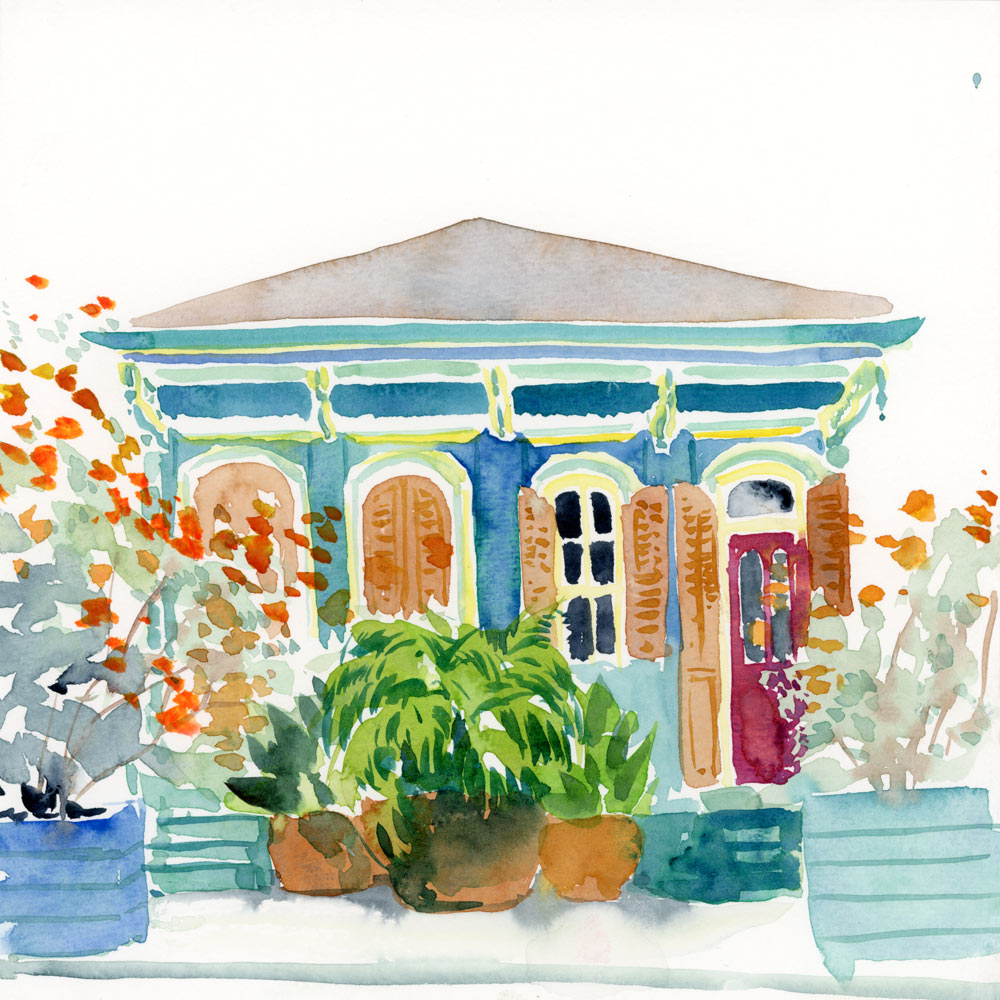 Marigny Blues Shotgun House watercolor painting