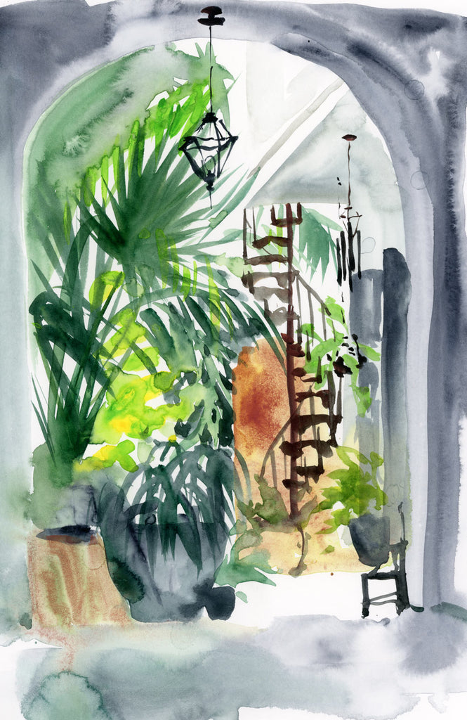French Quarter Courtyard watercolor painting
