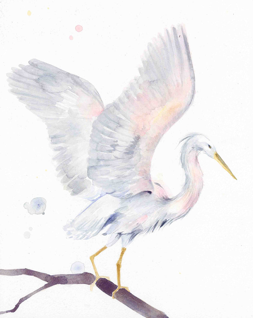 Egret with wings spread print
