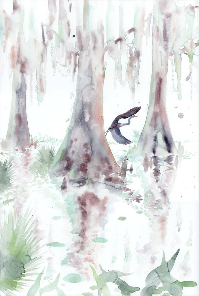 Cypress & Heron watercolor print