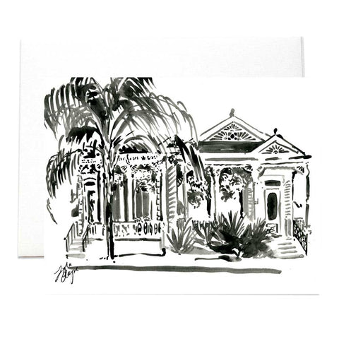 New Orleans Black & White Shotgun Houses Folded Notecards