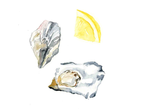 Oyster with lemon slice watercolor print