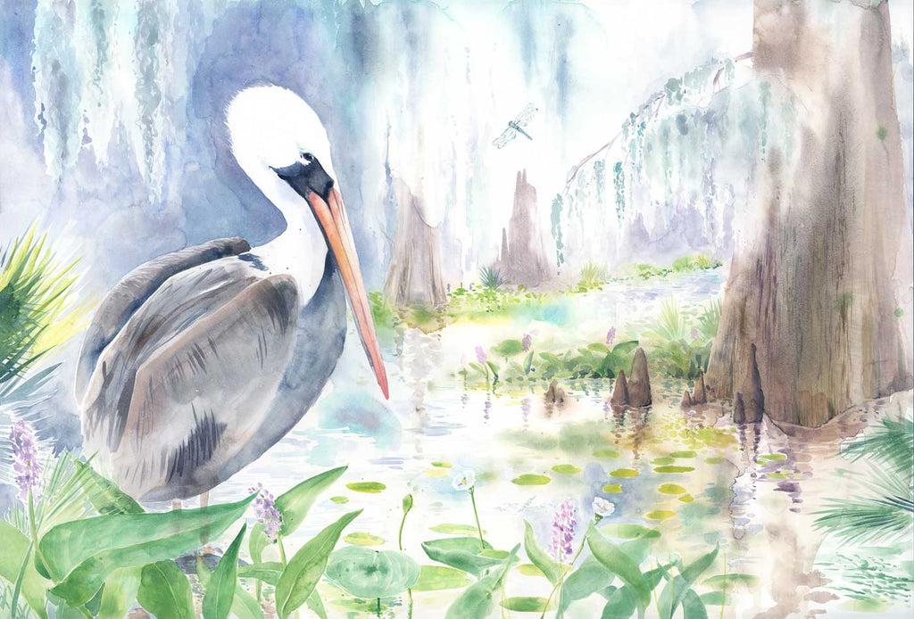 Pelican in Louisiana Swamp watercolor print