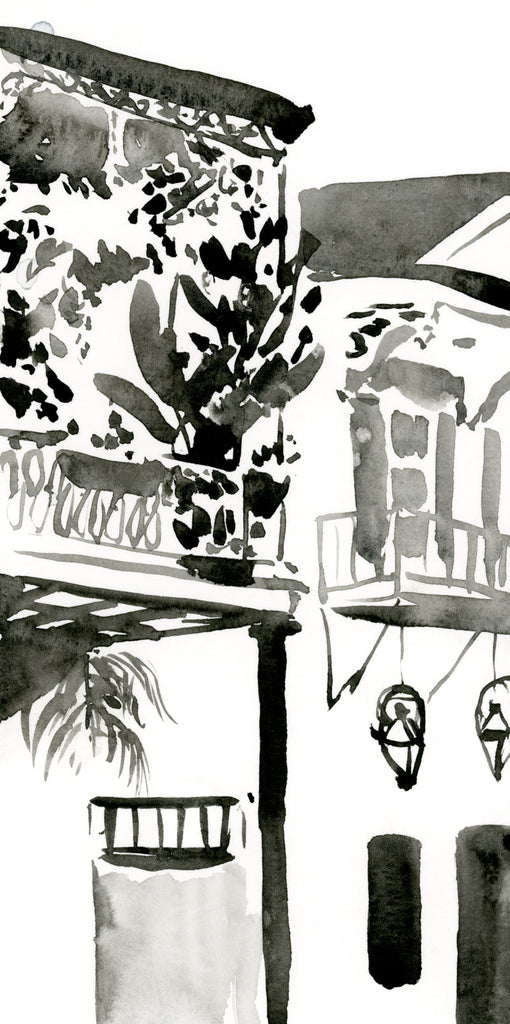 French Quarter Balcony black & white watercolor painting