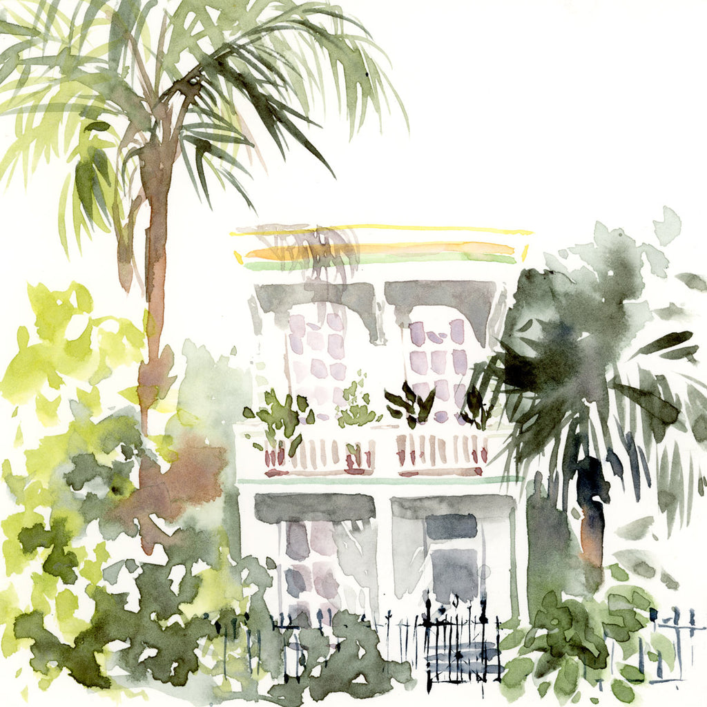 Marigny Tropical Mansion watercolor painting