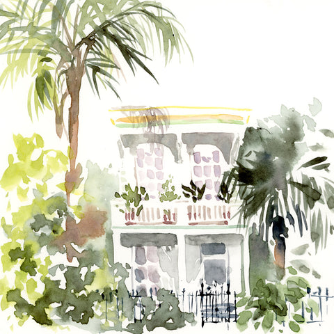 Marigny Tropical Mansion watercolor print