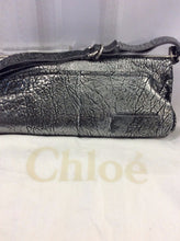 Chloe Silver Cracked Leather Shoulder Handbag