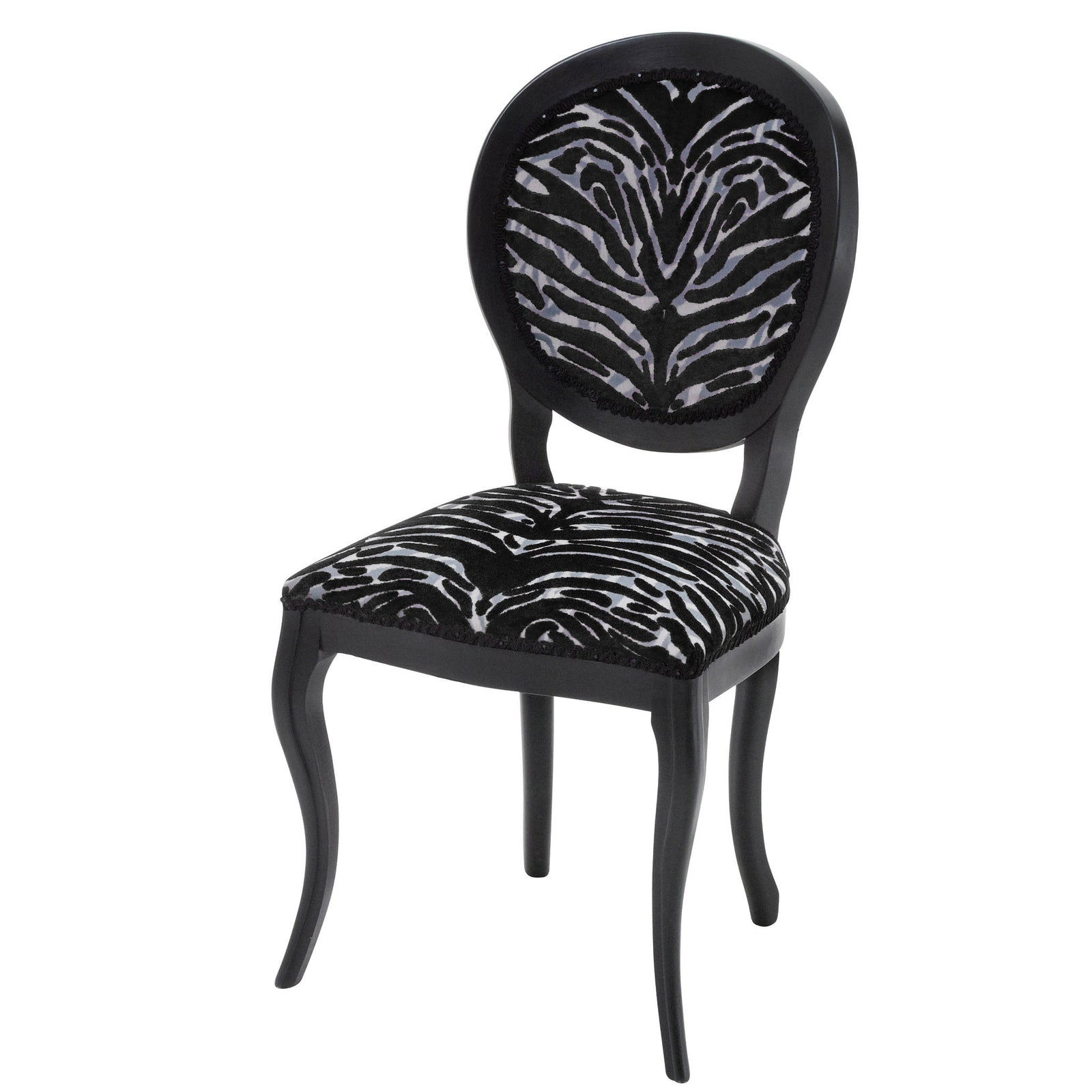 Designer Chair upholstered in Soft Pantigre Onyx finished in Matte Black.