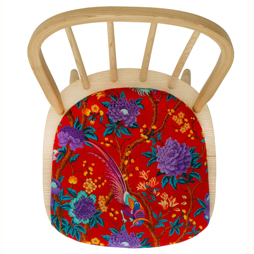 The Elkin Dining Chair Upholstered in  Elysian Paradise Velvet by Liberty London