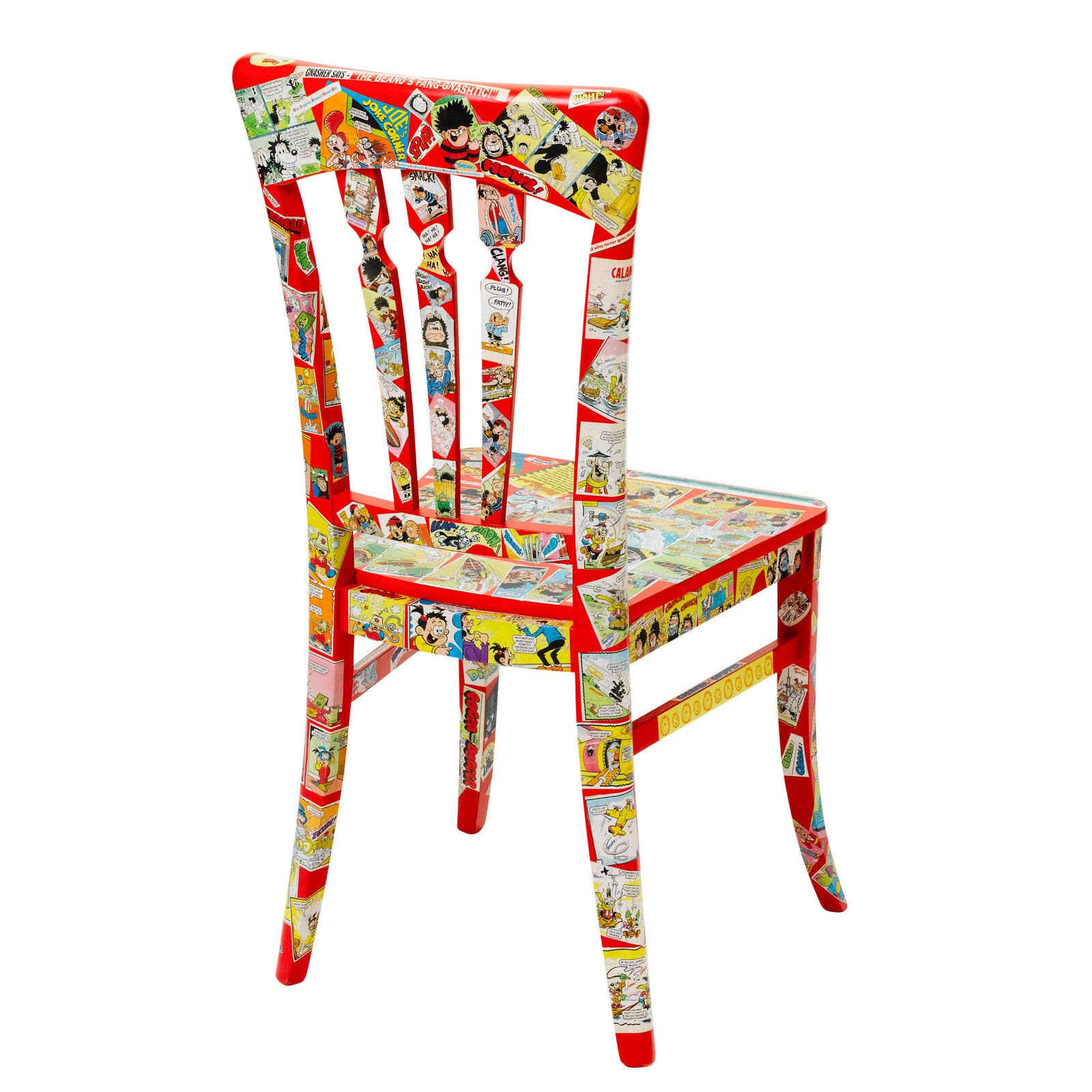 Rear view of Pop art chair finished in red overlaid with real Beano comic print