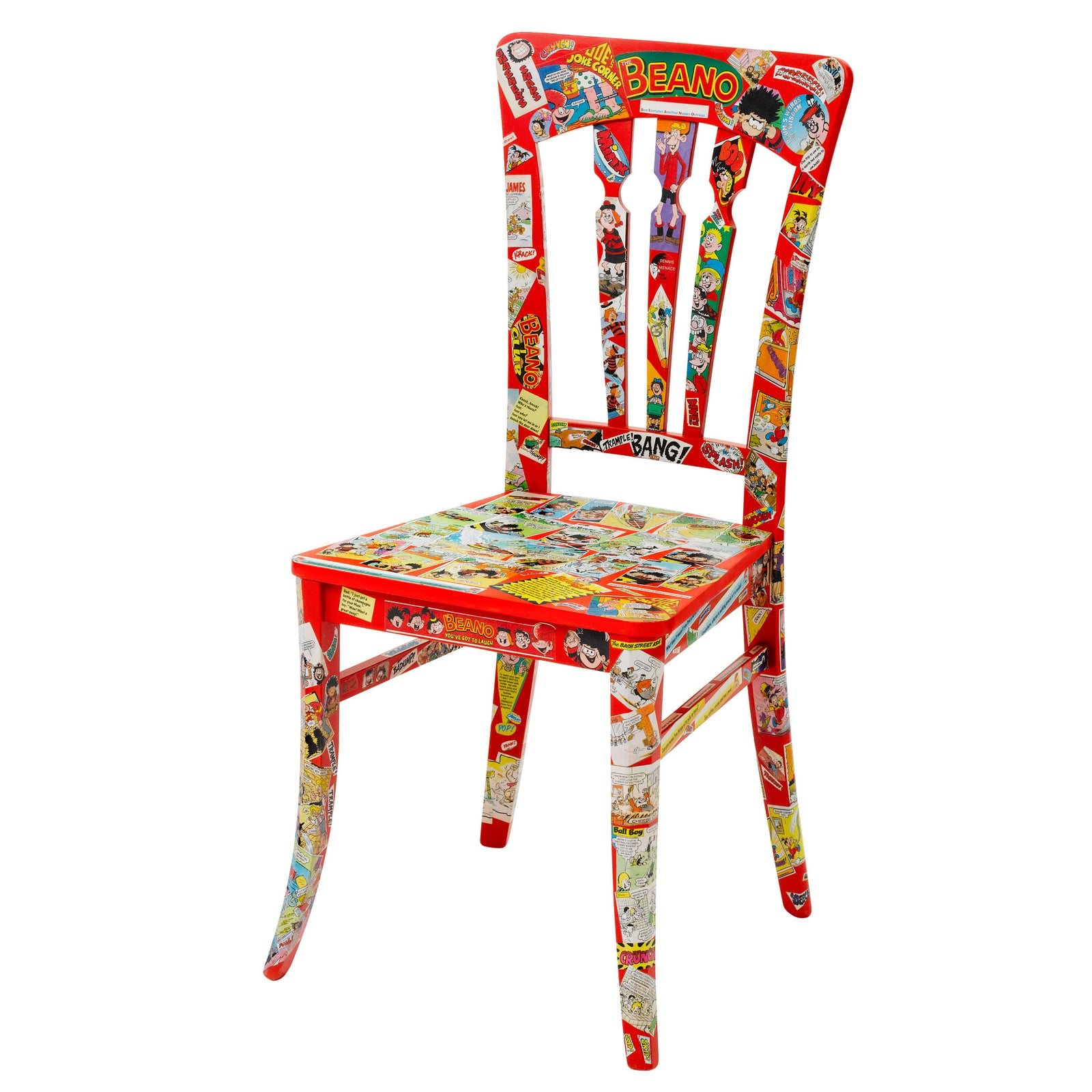 A Pop art chair finished in red overlaid with real Beano comic print